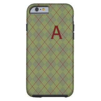 Monogrammed Green Argyle iPhone 6 case