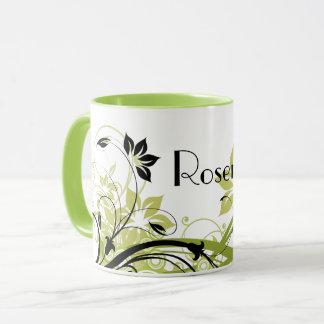 Monogrammed Green & Black Flourished Flowers Mug