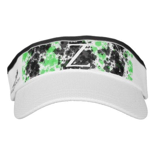 a9c84c39 Monogrammed Green Black Paint Splatter Visor Hats | Zazzle.com