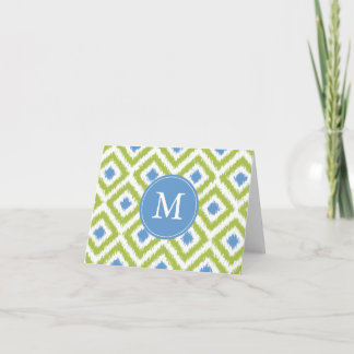 Monogrammed Green Blue Diamonds Ikat Pattern Note Card