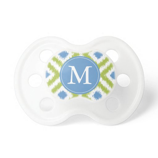 Monogrammed Green Blue Diamonds Ikat Pattern Pacifier