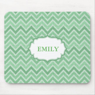 Monogrammed Green Chevron Mouse Pad