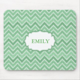 Monogrammed Green Chevron