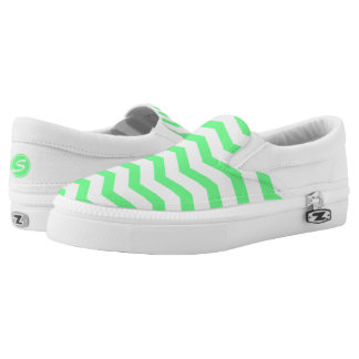 Monogrammed Green Chevron Printed Shoes