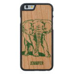 Monogrammed Green Elephant Line Drawing Carved Cherry iPhone 6 Case