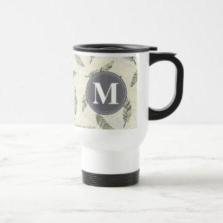 Monogrammed Green Grey Feather Pattern Travel Mug
