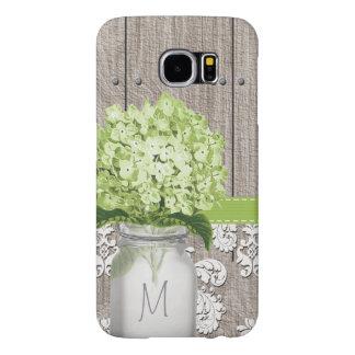 Monogrammed Green Hydrangea Mason Jar Samsung Galaxy S6 Case