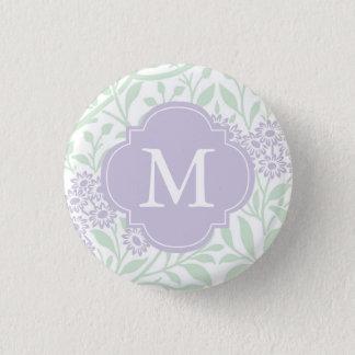 Monogrammed Green Lavender Floral Damask Pattern Button