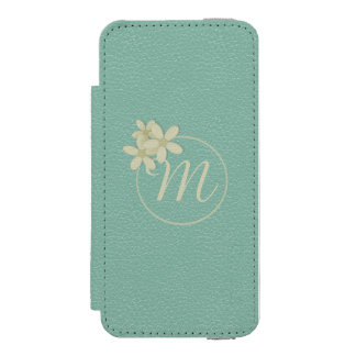 Monogrammed Green Leather Effect iPhone 5 Wallet