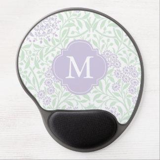 Monogrammed Green Lilac Floral Damask Pattern Gel Mouse Pad