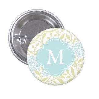 Monogrammed Green Mint Floral Damask Pattern Pinback Button