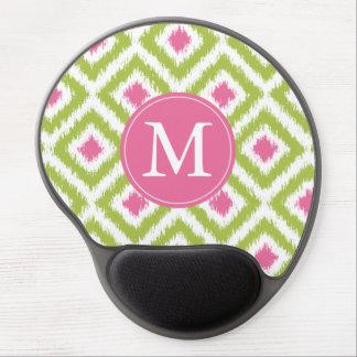 Monogrammed Green Pink Diamonds Ikat Pattern Gel Mouse Pad