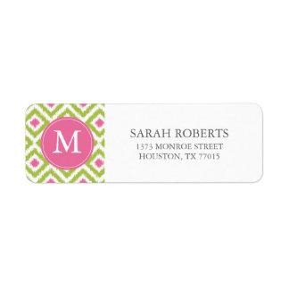 Monogrammed Green Pink Diamonds Ikat Pattern Label
