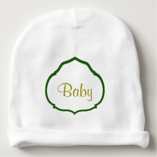 Monogrammed Green Quatrefoil Frame Personalized Baby Beanie