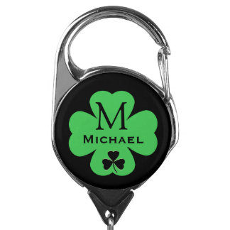 Monogrammed Green Shamrock with Name and Initial Badge Holder