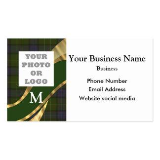 Monogrammed green tartan pattern company logo business card