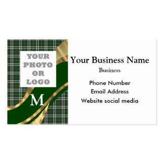 Monogrammed green tartan plaid company logo business card templates