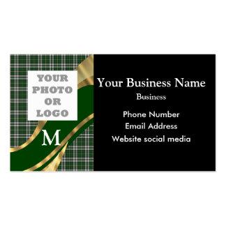 Monogrammed green tartan plaid pattern and logo business card