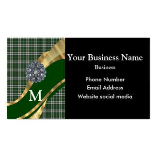 Monogrammed green tartan plaid pattern business card