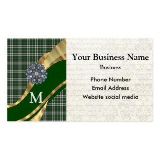 Monogrammed green tartan plaid pattern business card template