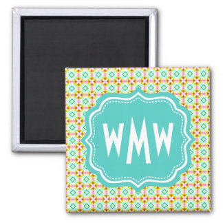 Monogrammed Green Turquoise Girly Diamonds Pattern 2 Inch Square Magnet