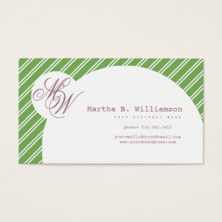 Monogrammed Green & Violet with Circle & Stripes Business Card
