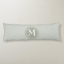 Monogrammed Green & White Zigzag - Body Pillow #1