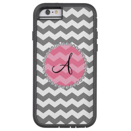 Monogrammed grey chevrons pink chevron circle tough xtreme iPhone 6 case