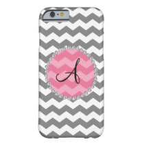 Monogrammed grey chevrons pink chevron circle barely there iPhone 6 case