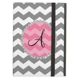 Monogrammed grey chevrons pink chevron circle cover for iPad air