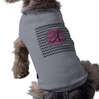 Monogrammed grey chevrons pink chevron circle dog clothing