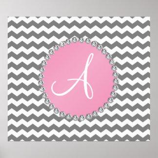 Monogrammed grey chevrons pink circle print