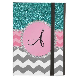 Monogrammed grey chevrons turquoise glitter case for iPad air