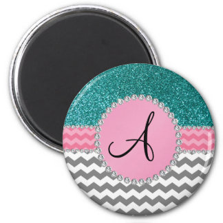 Monogrammed grey chevrons turquoise glitter magnet