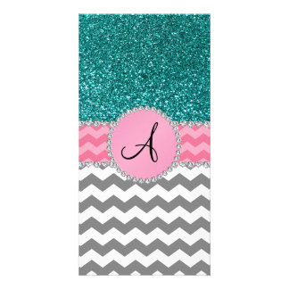 Monogrammed grey chevrons turquoise glitter photo card