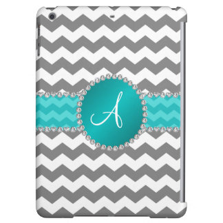 Monogrammed grey chevrons turquoise stripe iPad air cover
