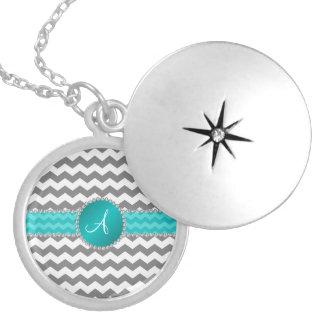 Monogrammed grey chevrons turquoise stripe round locket necklace