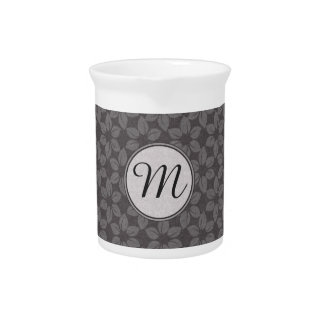 Monogrammed Grey Fabric Flowers Drink Pitchers