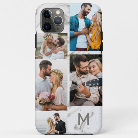 Monogrammed Grey Marble 5 Photo Collage iPhone 11 Pro Max Case