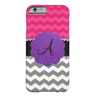 Monogrammed grey pink chevrons purple scallop barely there iPhone 6 case