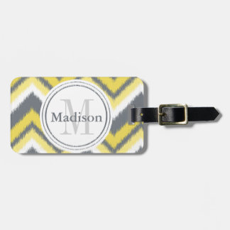 Monogrammed Grey Yellow Ikat Chevron Pattern Luggage Tag