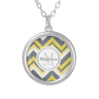 Monogrammed Grey Yellow Ikat Chevron Pattern Silver Plated Necklace