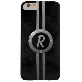 Monogrammed Gun Metal Gray Ring and Bars Barely There iPhone 6 Plus Case