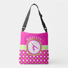 Monogrammed Gymnastics Pink And Green Polka-dots Crossbody Bag at Zazzle