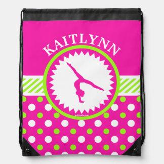 Monogrammed Gymnastics Pink and Green Polka-Dots Drawstring Bag
