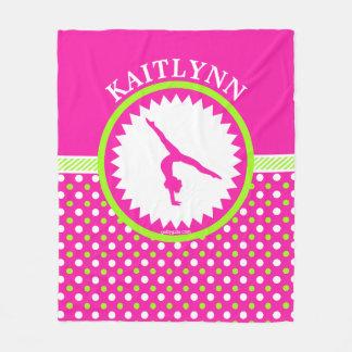 Monogrammed Gymnastics Pink and Green Polka-Dots Fleece Blanket