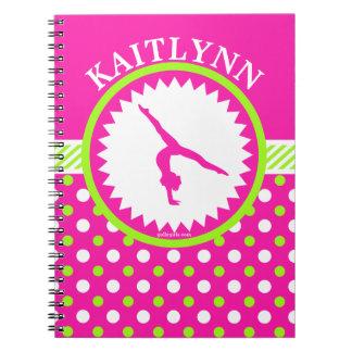 Monogrammed Gymnastics Pink and Green Polka-Dots Notebook