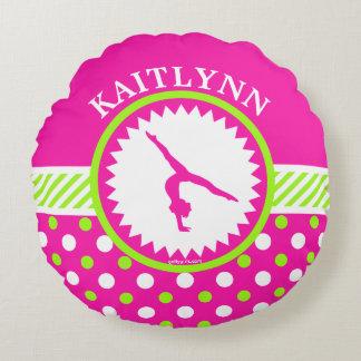 Monogrammed Gymnastics Pink and Green Polka-Dots Round Pillow