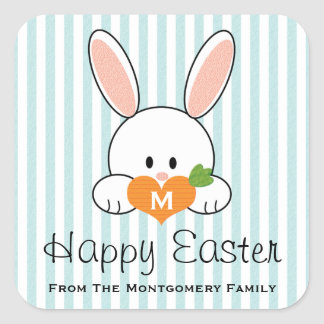 Monogrammed Happy Easter Bunny Seals Blue