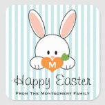 Monogrammed Happy Easter Bunny Seals Blue Square Stickers